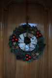 Classic christmas decorations on a door Royalty Free Stock Images