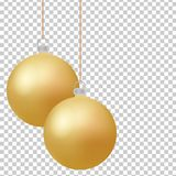 Classic christmas golden balls with glance. Isolated new year baubles design elements. Vector illustration. Classic christmas golden balls with glance. Isolated Stock Image