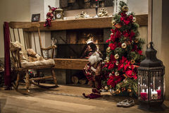Classic Christmas house interior with fireplace and Christmas tr Stock Photo
