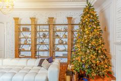 Classic christmas New Year decorated interior room royalty free stock photos