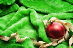 Classic Christmas ornament on fluffy rug Stock Image