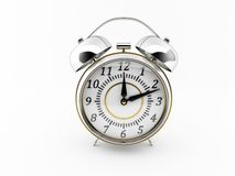 Classic chrome alarm clock. Stock Photos