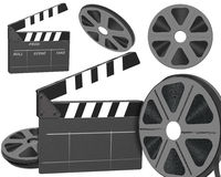 Vintage film reel and clipper  Royalty Free Stock Photography