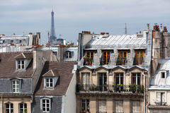 Classic cityscape of Paris and Eiffel Tower Stock Photo