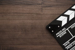 Classic clapperboard on the table Stock Photo