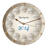2014 classic clock calendar. A round clock shaped calendar for 2014. Sundays first, moon phases included Royalty Free Stock Photo
