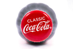 Classic Coca Cola Bottle Top. LONDON, UK - JANUARY 4TH 2017: A close-up studio shot of the Classic Coca Cola logo on a bottle top over a plain white background stock photo