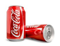 Classic Coca Cola cans in water drops. Cola cans coca ice cold red white background Stock Photography