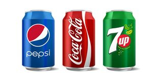 Free Classic Coca-Cola, Pepsi And 7 Up Can Isolated On White Background Royalty Free Stock Photography - 185281727