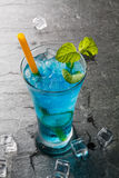 Classic cocktail bule drink with lime Royalty Free Stock Photos