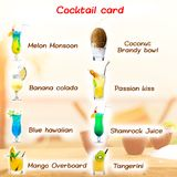 Classic cocktail menu card for a bar. Set. Lots of different classic cocktails on a sunny beach background stock images