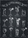 Classic Cocktails. Hand drawn illustration Royalty Free Stock Images