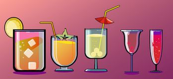 Classic cocktails stock illustration