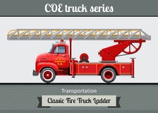 Classic COE fire truck ladder side view. Classic COE cab over engine fire truck ladder side view. Vector clipart illustration Royalty Free Stock Photos