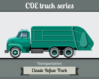 Classic COE refuse heavy duty truck side view Royalty Free Stock Photography