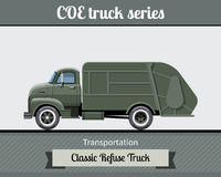 Classic COE refuse truck side view Royalty Free Stock Photo