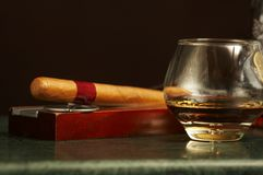 Classic cognac bottle, cigar Royalty Free Stock Image