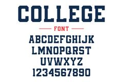 Classic college font. Vintage sport font in american style for football, baseball or basketball logos and t-shirt. Athletic department typeface, varsity style vector illustration