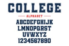Classic college font. Vintage sport font in american style for football, baseball or basketball logos and t-shirt. Athletic department typeface, varsity style royalty free illustration
