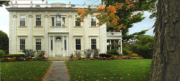 Classic Colonial Home. This classic colonial home located on the campus of Willilams College, Williamstown, Ma and is the home of the President of the college Royalty Free Stock Photo