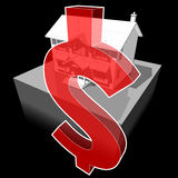 Classic colonial house and DOLLAR sign Royalty Free Stock Images