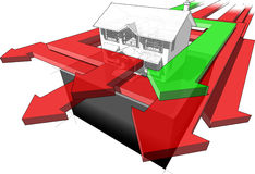 Classic colonial house and many arrows diagram Stock Photo
