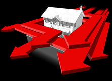 Classic colonial house and many arrows diagram Royalty Free Stock Photo