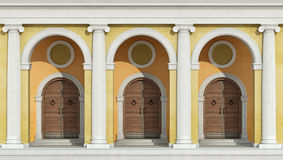 Classic colonnade with front doors Royalty Free Stock Photography