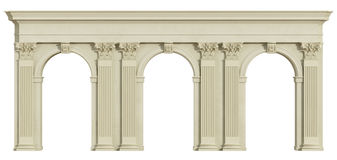 Classic colonnade  on white Royalty Free Stock Photos