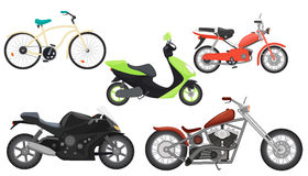 Classic color flat realistic motorcycle moped, speed motorbike, travel motorcycle, power moto bikes collection set. Stock Image
