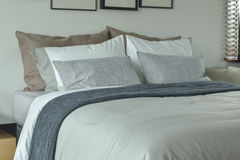 Classic color scheme bedding for king size bed Royalty Free Stock Image