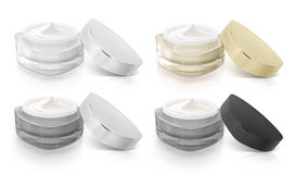 Classic color triangle cosmetic jar open cap Royalty Free Stock Images