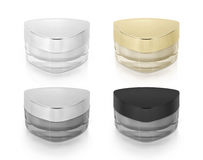 Classic color triangle cosmetic jar on white Stock Image
