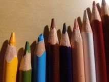 The classic colored pencils royalty free stock image