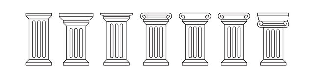 Classic column icon set Royalty Free Stock Photos