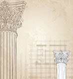 Classic columns  background. Roman corinthian column. Royalty Free Stock Images
