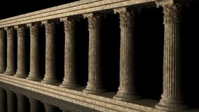 Classic columns on black background Stock Photo