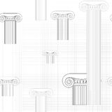 Classic columns seamless background. Roman column seamless pattern. Royalty Free Stock Images