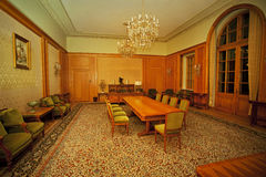 Classic conference room. Nicolae Ceausescu's office in Sinaia, where now the Governing Board meetings are held Royalty Free Stock Images