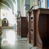 Classic Confessional  in the church Royalty Free Stock Image