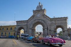 American classic cars at Main Gate of Cemetery of Havana, Cuba Royalty Free Stock Images