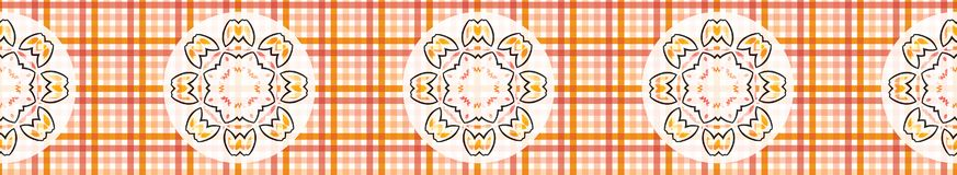 Classic coral orange tartan check gingham with flower circles. Seamless repeat border. Stylish geometric checkered flowers for trendy summer textiles and paper royalty free illustration