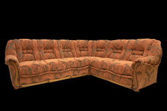 Classic corner sofa. Classic design with included armrest wooden application, covered by quality orange textile Stock Image