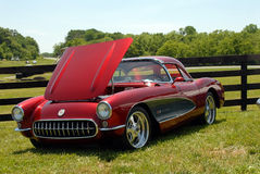 Classic Corvette Sports Car. Classic maroon Corvette Sports Car on  display at vintage car show at the Jefferson 500 race at Summit Point Auto Raceway Royalty Free Stock Photos