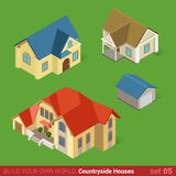Classic countryside houses architecture icon set. Architecture classic countryside houses buildings icon set flat 3d isometric web illustration vector. Maison Stock Photos