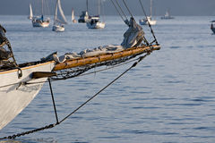 Classic craftsmanship sailboat bowsprit Royalty Free Stock Photo