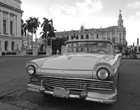 Classic Cuban Car in Center of Havana Cuba in Black and White Royalty Free Stock Images