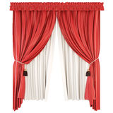 Classic curtains with pelmet  on white background. 3d. Royalty Free Stock Photo