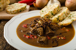Classic Czech goulash with dumplings Stock Photography