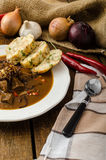 Classic Czech goulash with dumplings Royalty Free Stock Photography